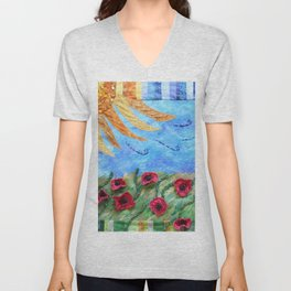 Field of Poppies Quilted Painting Unisex V-Neck