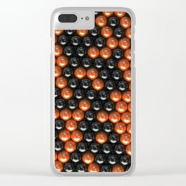 Pattern of black and orange spheres Clear iPhone Case