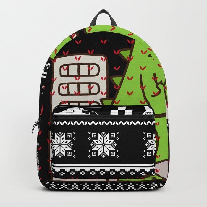 godzilla ugly christmas backpack