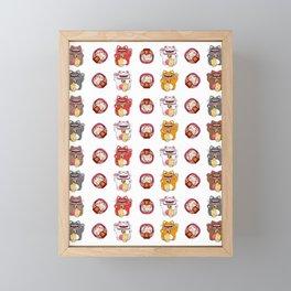 Colorful Maneki - neko pattern design Framed Mini Art Print