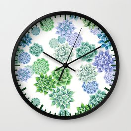 Floral succulent pattern Wall Clock