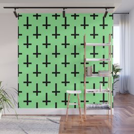 Black and Green Inverted Cross Pattern Wall Mural