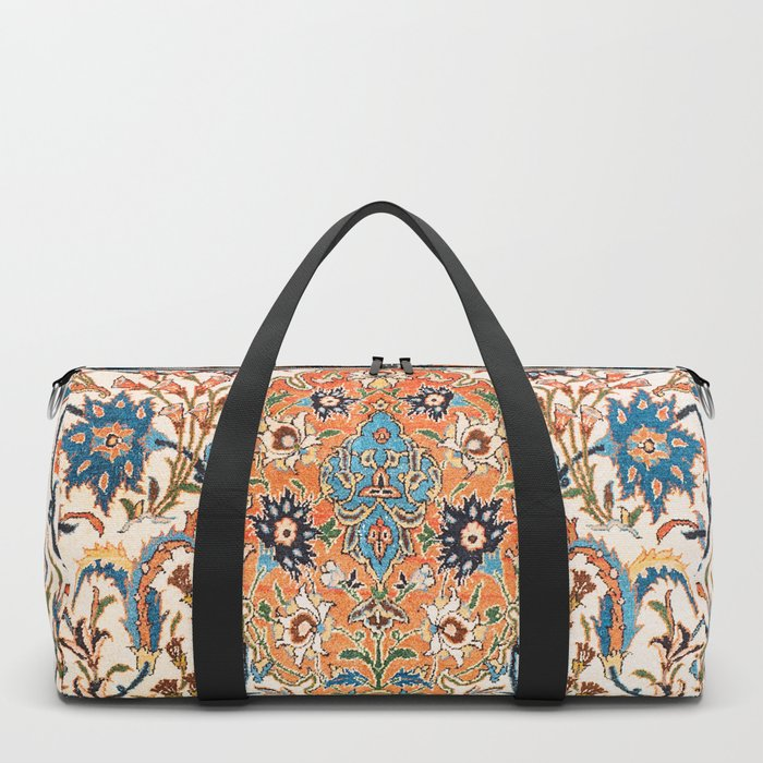 Isfahan Antique Central Persian Carpet Print Duffle Bag