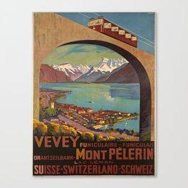 retro  Vevey Mont Pelerin vintage poster Canvas Print