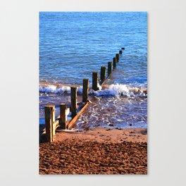 Wooden Breakwater on Seaside Beach, Teignmouth. Canvas Print