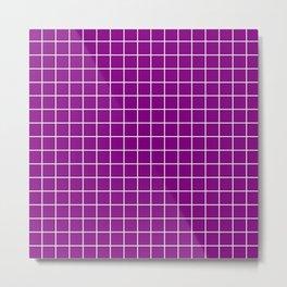 Patriarch - violet color - White Lines Grid Pattern Metal Print