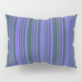 Slate Blue and Dark Slate Gray Colored Lines/Stripes Pattern Pillow Sham