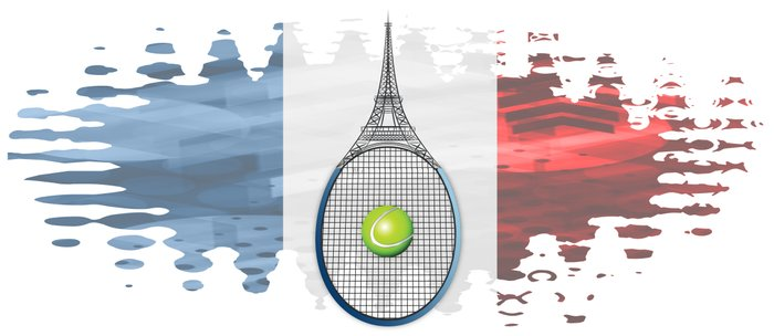 Racquet Eiffel Tower with French flag colors in background Coffee Mug