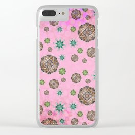 Pink Snow Storm Clear iPhone Case