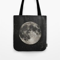 Tote Bags featuring The Moon  [Sans Type] by Heather Landis