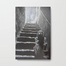 kid on the stairway Metal Print