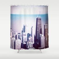 chicago Shower Curtains featuring Chicago by Jon Damaschke