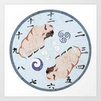 the last airbender Art Prints featuring Avatar The Last Airbender Air Clock Face by Art of Sara