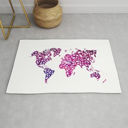 world map with cats kitty art  Rug