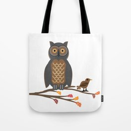 Owl and Friend Doodle Tote Bag