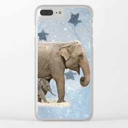 Elephant with Baby Clear iPhone Case