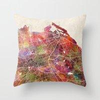 edinburgh Throw Pillows featuring Edinburgh by MapMapMaps.Watercolors