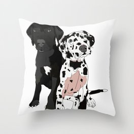 Great Dane Puppy Dogs: Olive & Oden Throw Pillow