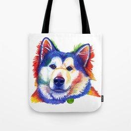 Alaskan Malamute Rainbow Watercolor Tote Bag