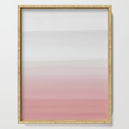 Touching Blush Gray Watercolor Abstract #3 #painting #decor #art #society6 Serving Tray