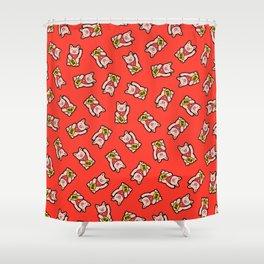 Lucky Pig Pattern Shower Curtain
