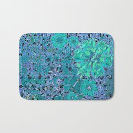Teal Blue Abstract Art Collage Bath Mat