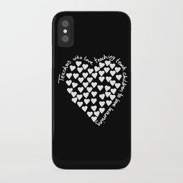 Hearts Heart Teacher White on Black iPhone Case