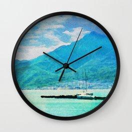 Lake Como in watercolor Wall Clock