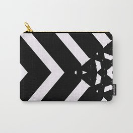 Modern Minimal Black White V Patten Carry-All Pouch