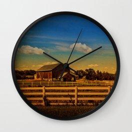 Sunset Over the Farm Wall Clock