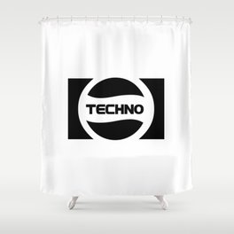 Techno Soda Parody Logo Shower Curtain