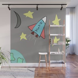 Spaceship Among the Stars Drawing Wall Mural