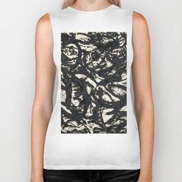 A black and white Jackson Pollock style art digitally vectorised Biker Tank