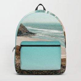 Beach Horizon | Teal Color Sky Ocean Water Waves Coastal Landscape Photograph Backpack
