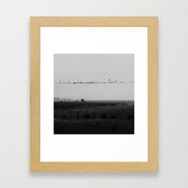 birds on wires in the still of the morning fog ... Framed Art Print