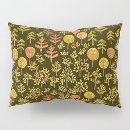 Watercolor autumn forest in doodle style Pillow Sham