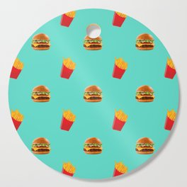 Burgers with fries Cutting Board