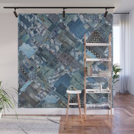 Antique Japanese boro jeans patchwork Wall Mural