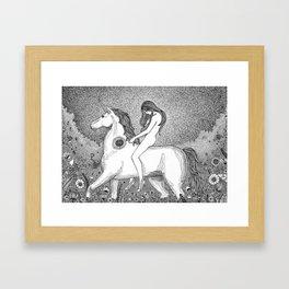 Lady Godiva and her unicorn Framed Art Print
