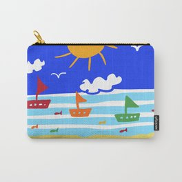 Naive Beach - Blue & Gold  Carry-All Pouch