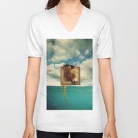 sea horse V-neck T-shirts featuring Sea Horse by Ross Sinclair