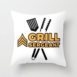 Grill Sergeant - Barbecue BBQ Grilling Meat Throw Pillow