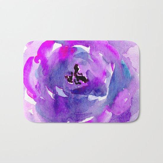 Purple pink flower Bath Mat