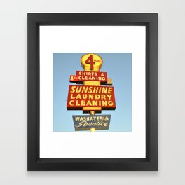 Sunshine Laundry Cleaning (Square) Framed Art Print