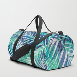 Palm Leaves - Indigo Green Duffle Bag