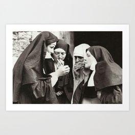 Nuns Smoking Art Print