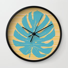 Monstera in Turquoise and Gold Wall Clock