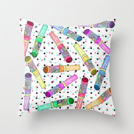 Retro 80's 90's Neon Colorful Push Candy Pop Throw Pillow