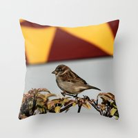 sparrow Throw Pillows featuring Sparrow by IowaShots
