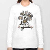 scandinavian Long Sleeve T-shirts featuring Scandinavian meets paisley bird hearts flowers by The Big M Ranch
